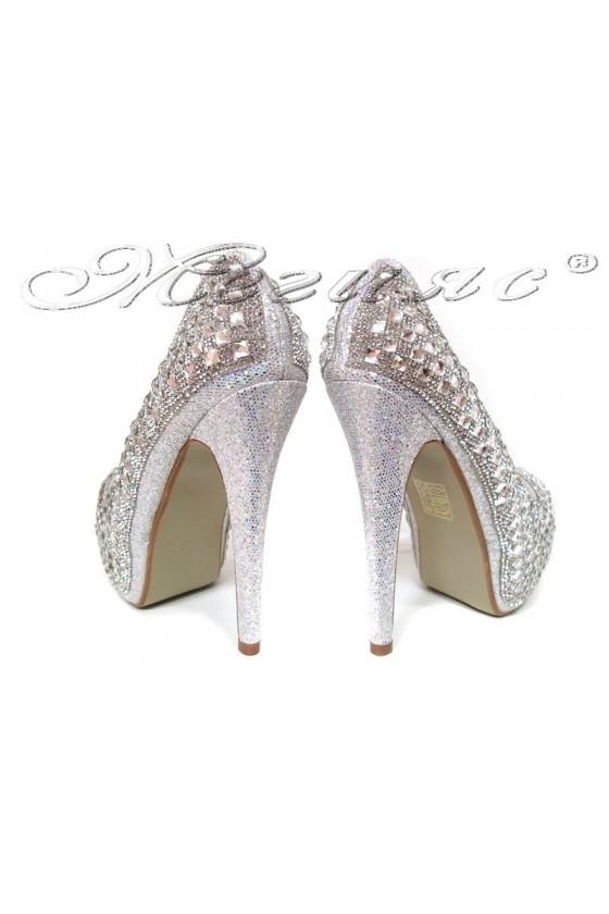 Дамски обувки LINDA 20S16-353 сребърни с камъни елегантни с висок ток и платформа