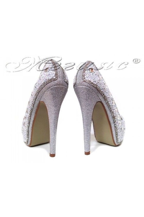 Women elegant  shoes 20S16-359 silver with high heel