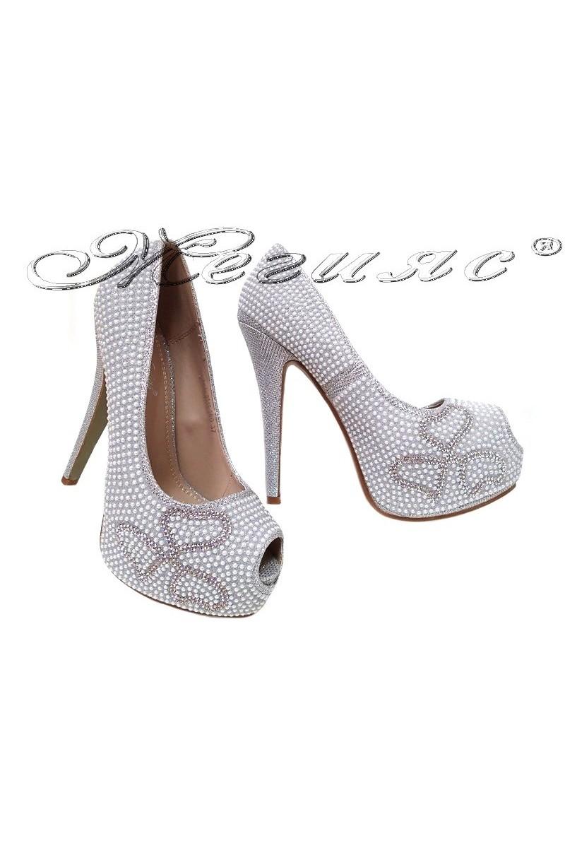 Дамски обувки LINDA 2016-360 сребристи с камъни елегантни с висок ток и платформа