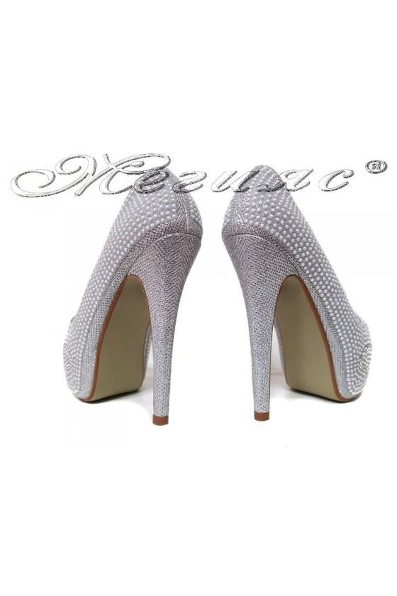 Дамски обувки LINDA 20S16-360 сребристи с камъни елегантни с висок ток и платформа
