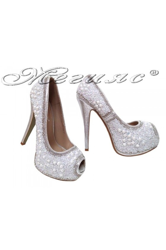 Women elegant shoes 20S16-358 silver with high heel