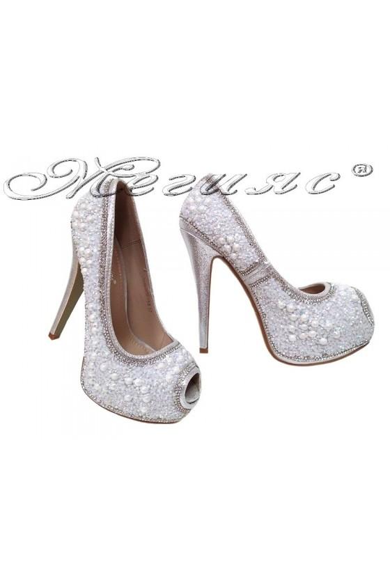 Дамски обувки LINDA 2016-358 сребристи с камъни елегантни с висок ток и платформа