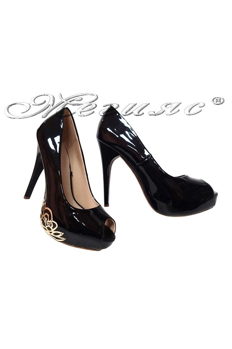 Women elegant shoes 022-3 black high heel