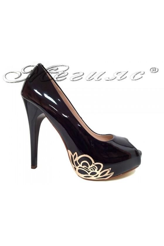 Women elegant shoes 022-3 black  high heel