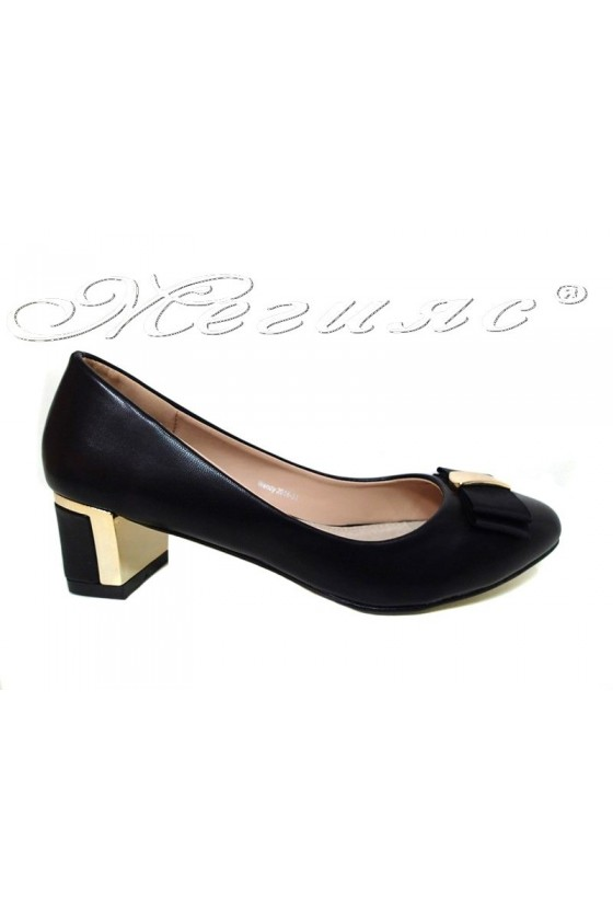 Women elegant shoes 20S16-31 black pu with middle heel