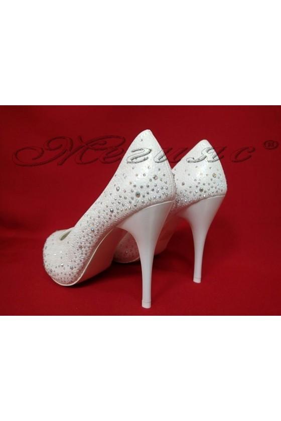 Дамски обувки Carol 20S16-330 бели елегантни висок ток