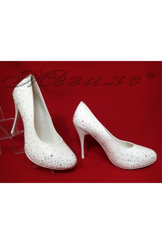 Дамски обувки Carol 2016-330 бели елегантни висок ток