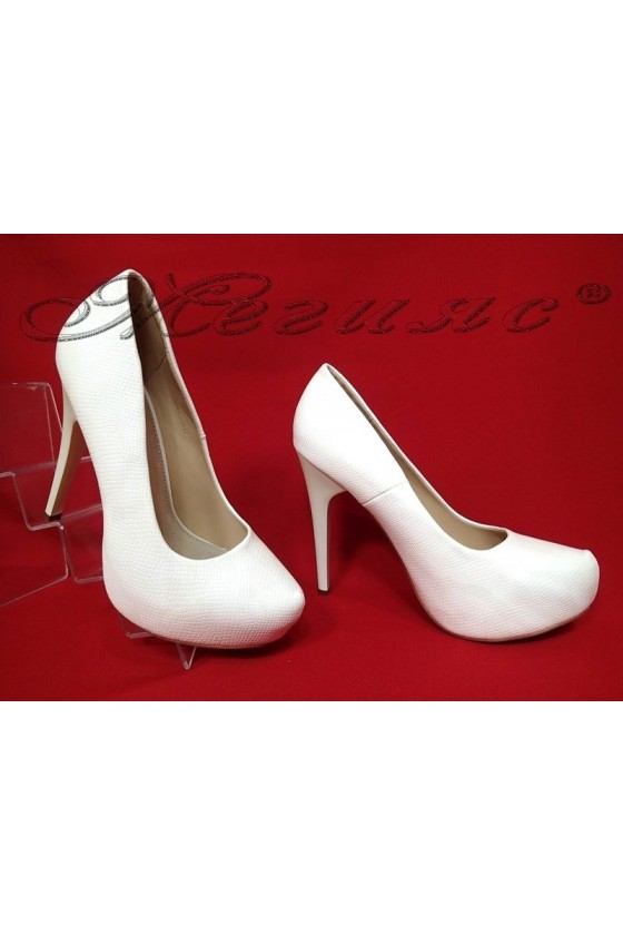 Lady elegant shoes 021-2 white pu