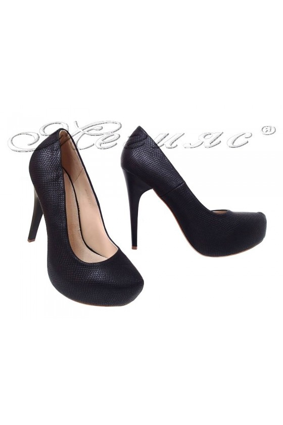 Women elegant shoes 021-1 black pu with high heel