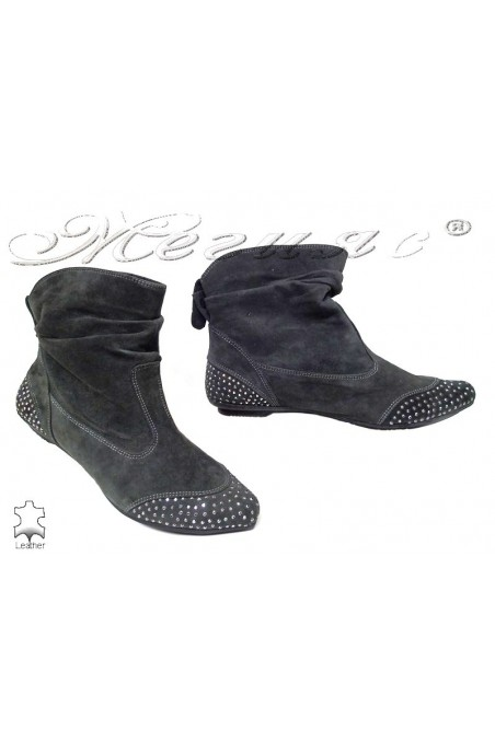 Lady boots 532-912 grey suede leather