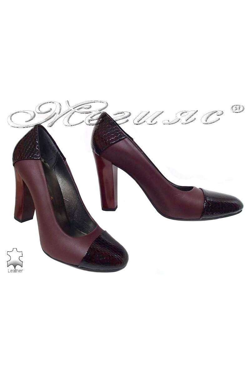 Lady elegant shoes 75 bordo leather
