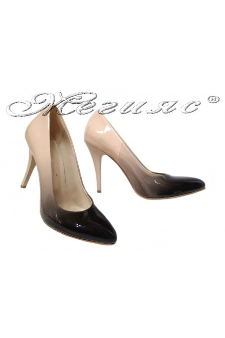 Women elegant  shoes 5596 beige  patent