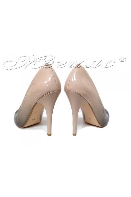 Women elegant  shoes 162 beige  patent