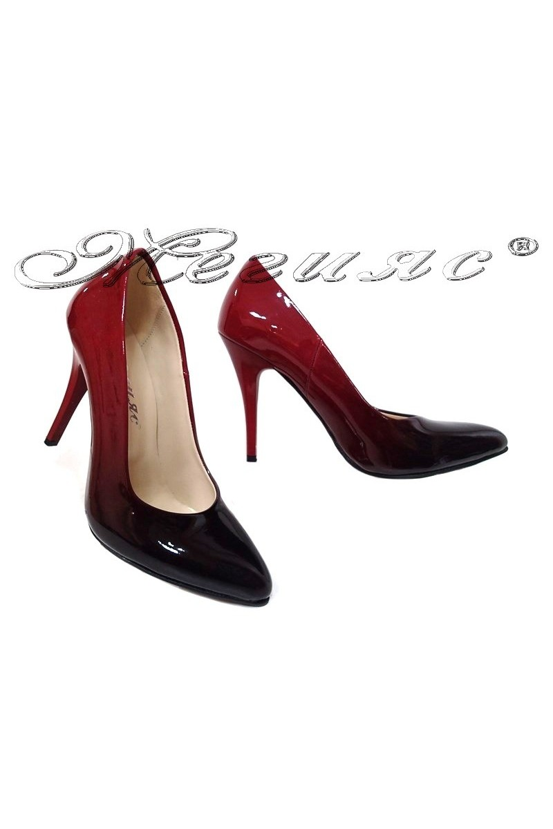 Women elegant shoes 5596 red patent