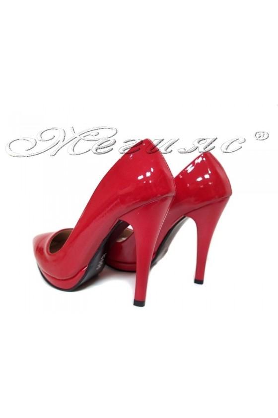 Women elegant  shoes 530 red  patent