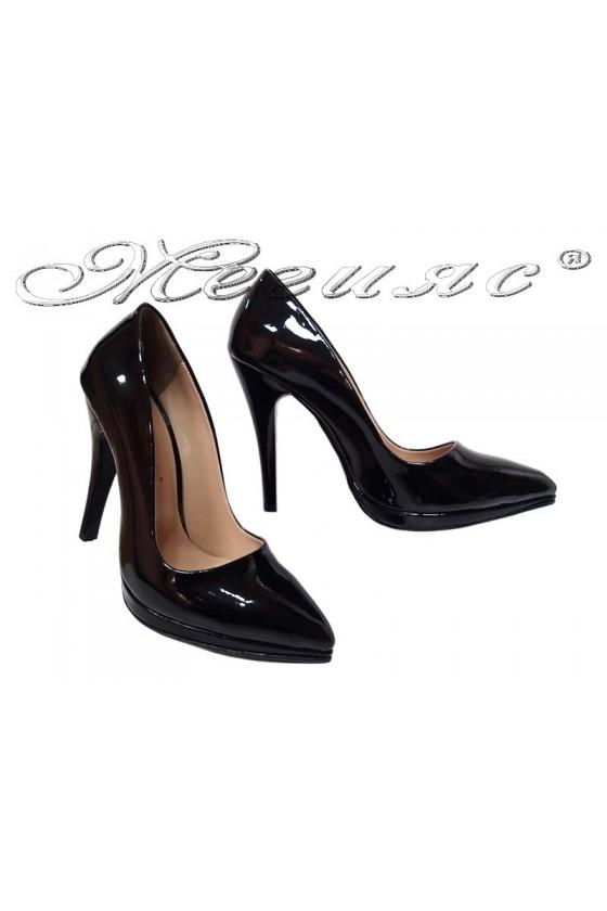 Women elegant  shoes 530 black  patent