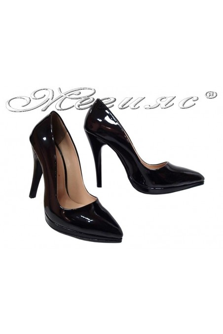 Women elegant shoes 530 black patent