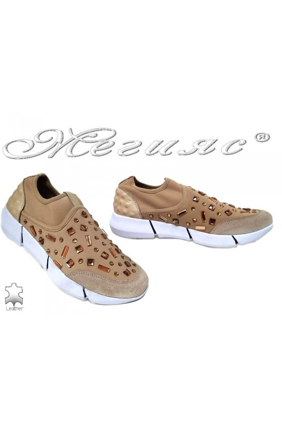 Lady sport's shoes 6687 beige suede+tekstil