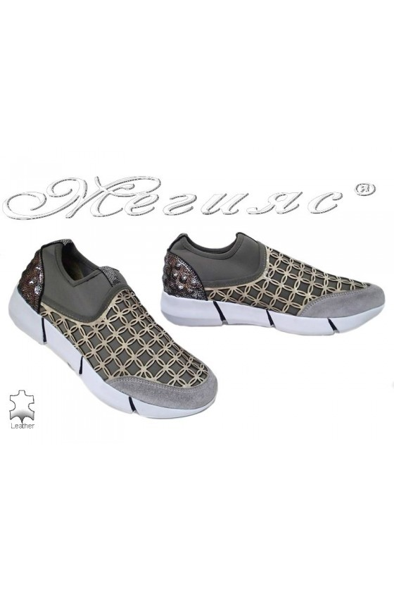 Lady sport's shoes 6689 grey suede+tekstil