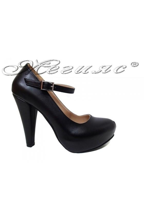 Women elegant  shoes 520 black  pu