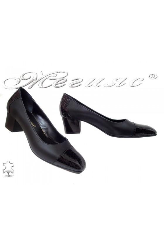 Lady elegant shoes 514-0150 black leather+pattent