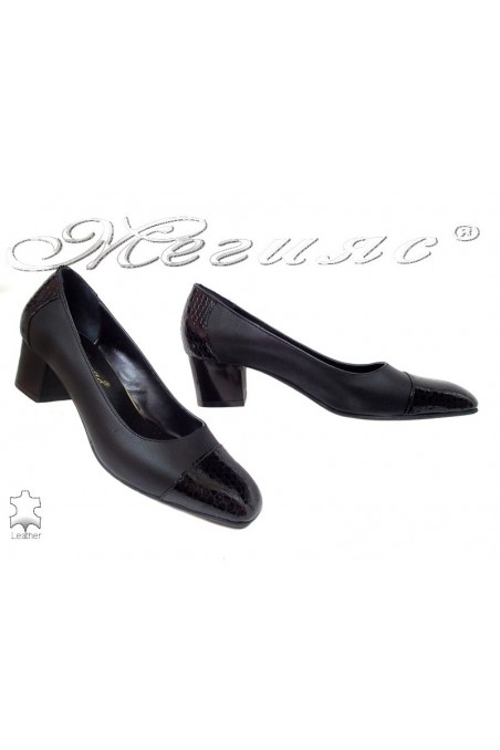 Lady elegant shoes 514-0150 black leather+pattent