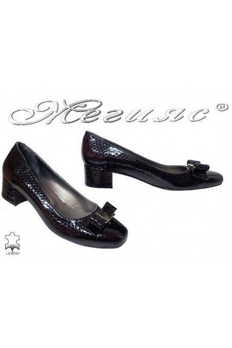 Lady elegant shoes 539 black leather+pattent