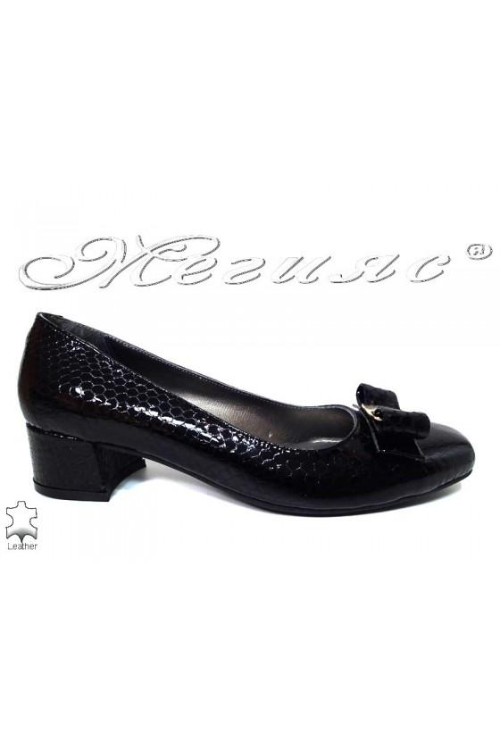 Lady elegant shoes 539 black leather+pattent