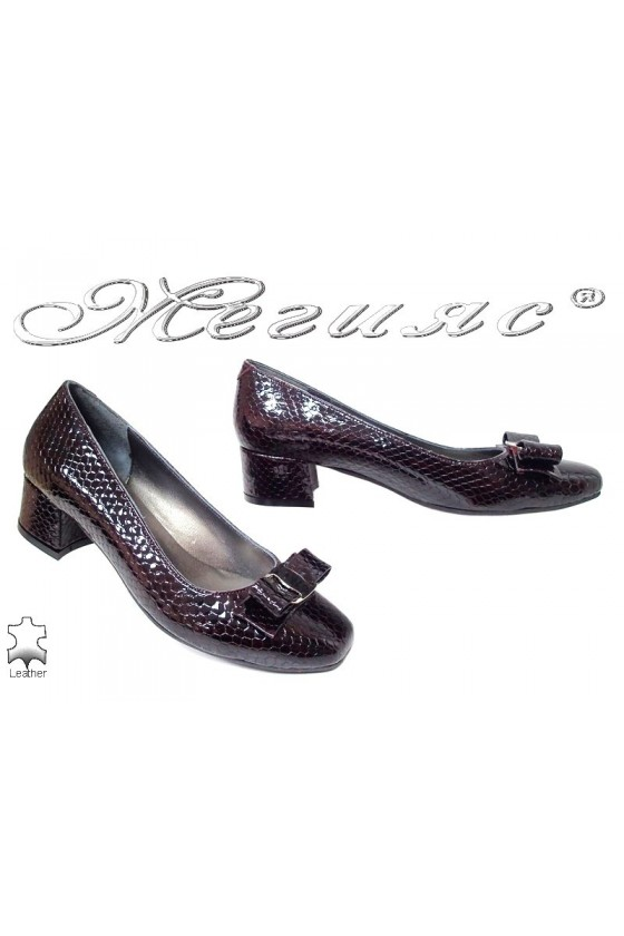 Lady elegant shoes 539 bordo leather+pattent