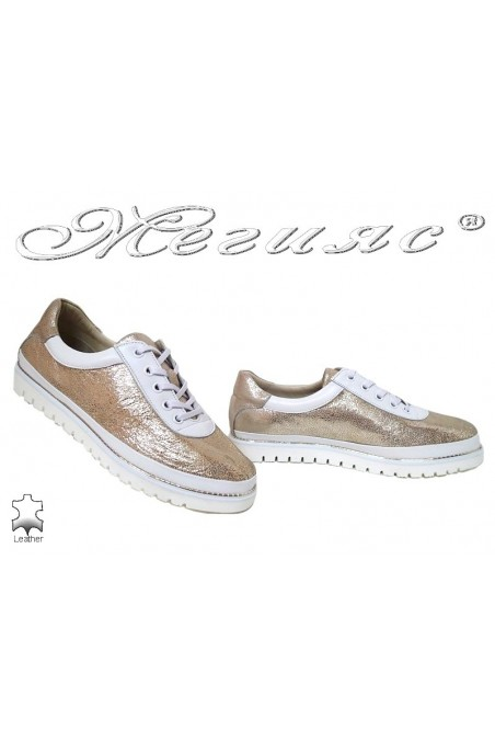Lady shoes 890 white+gold pu