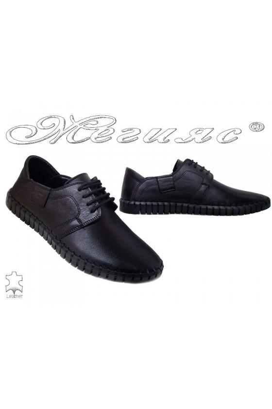 Мъжки обувки Фантазия 06-014 черени естествена кожа