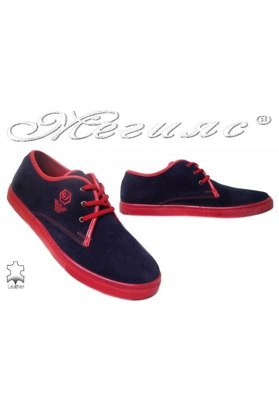 Мъжки обувки естествен велур сини с червено