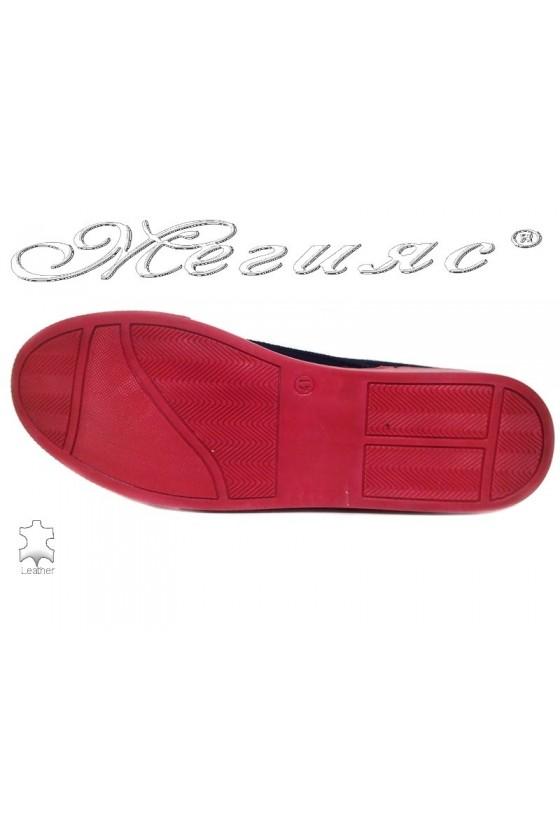 Мъжки обувки естествен велур сини с червено 208