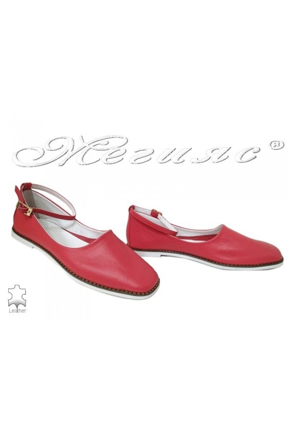 Women shoes 216-07 coral leather