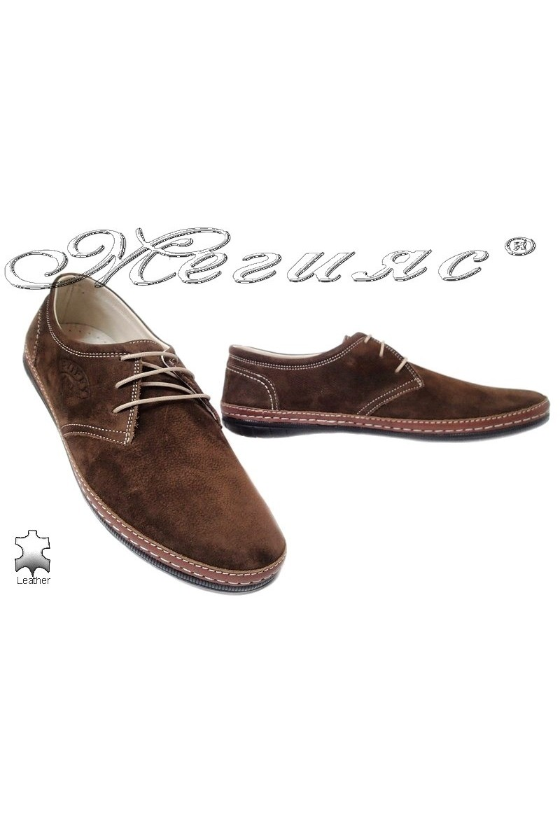 Men shoes PUFFY 728 brown leather
