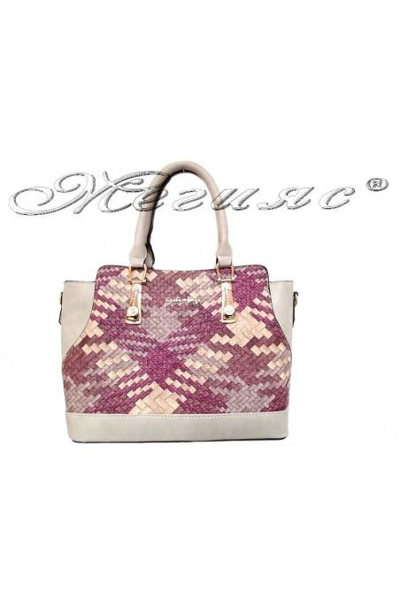 Дамска чанта 6041 малина от текстил и еко кожа