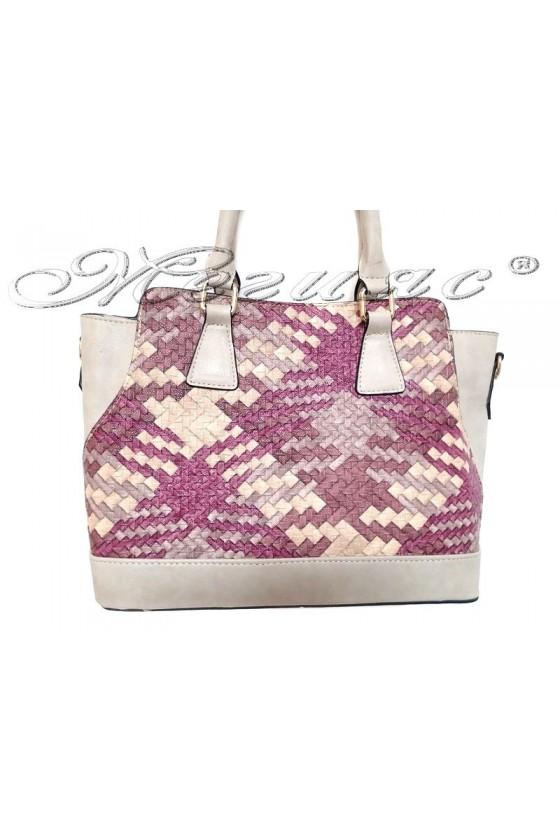 Дамска чанта 6041 бежова с шарка от текстил и еко кожа