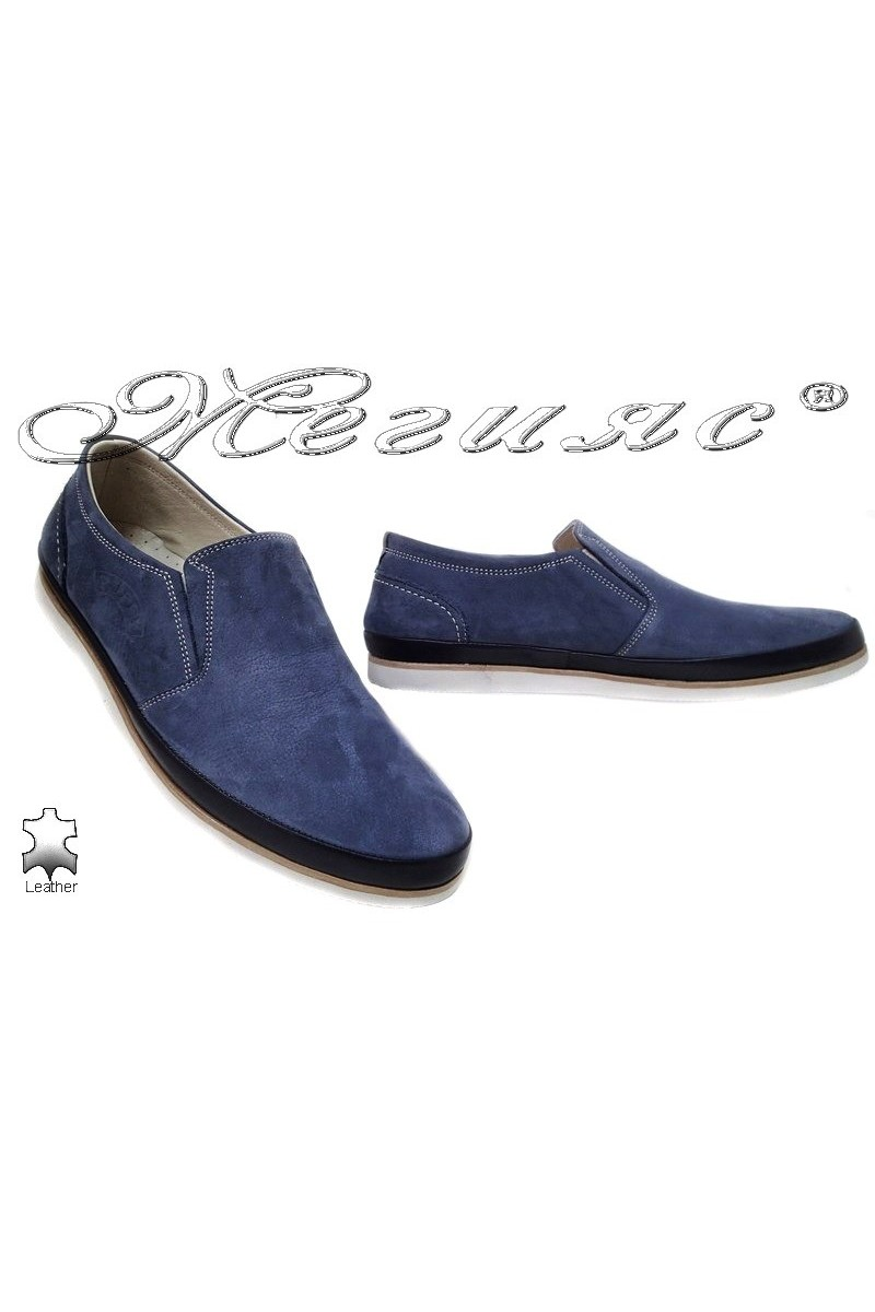 Men shoes PUFFY 756 blue leather