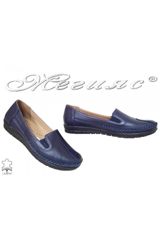 Дамски обувки 134 сини ежедневни естествена кожа