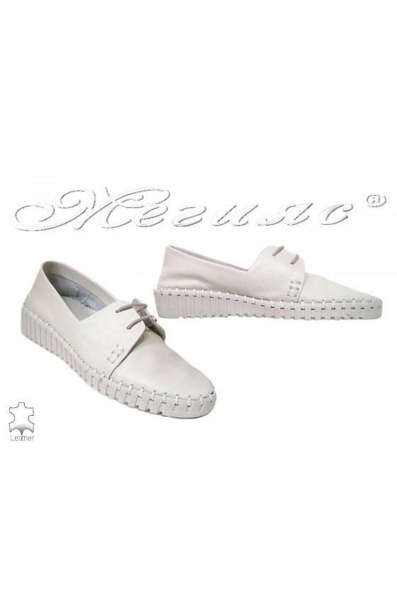 Дамски обувки 57 бежови ежедневни естествена кожа