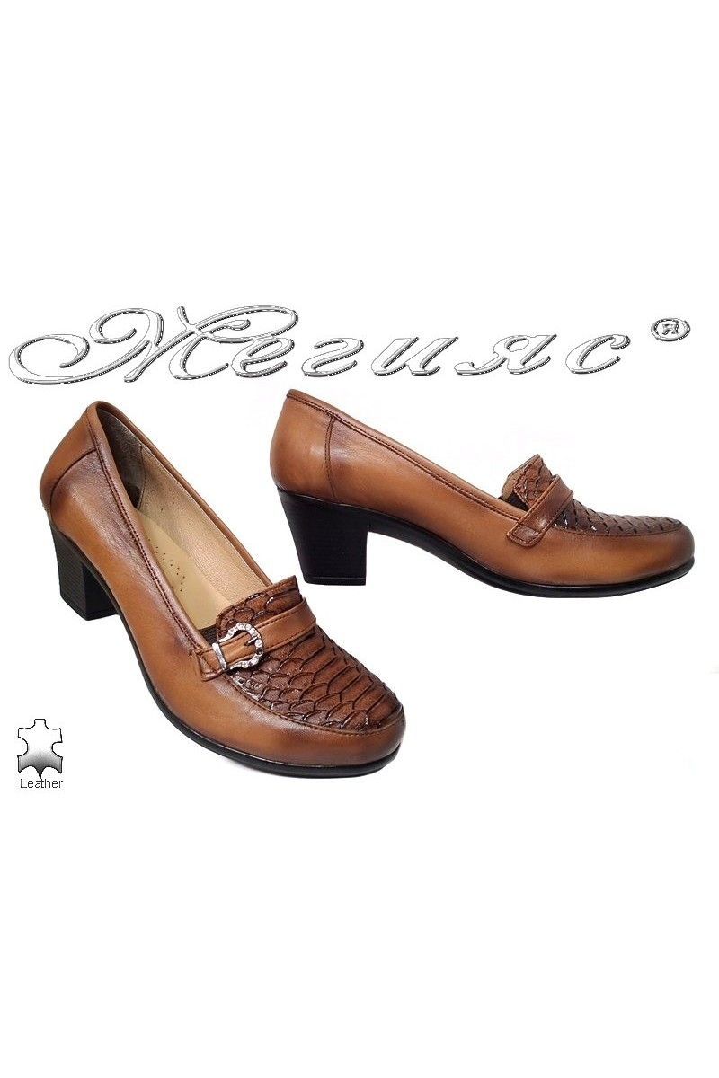 Lady elegant shoes 601 brown leather