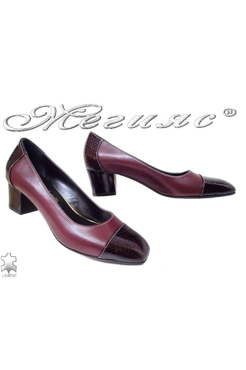 Lady elegant shoes 514-28-76 bordo leather+pattent