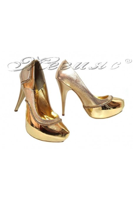 Women elegant shoes 171 gold pu with high heel