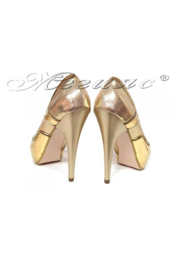Women elegant  shoes 171 gold pu with high heel
