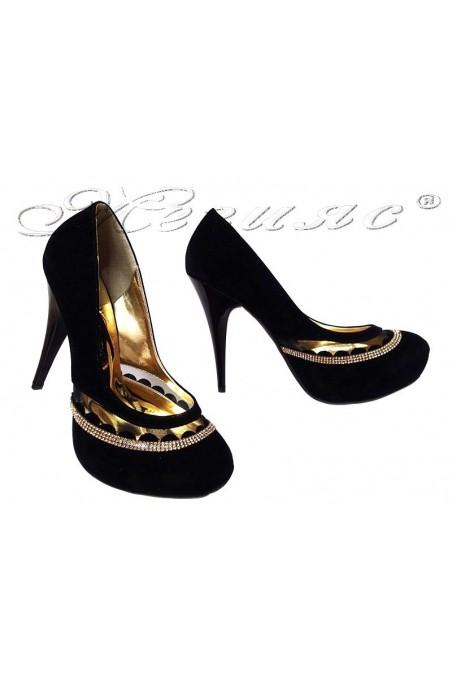 Дамски обувки 331 черни  елегантни с висок ток и платформа от еко велур