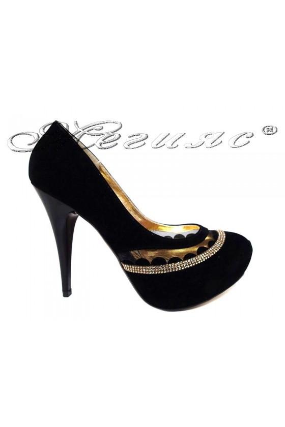 Women elegant shoes 530 black with high heel