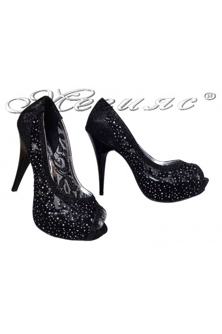 Women elegant shoes 331 black with high heel