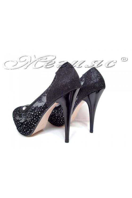 Women elegant  shoes 331 black with high heel