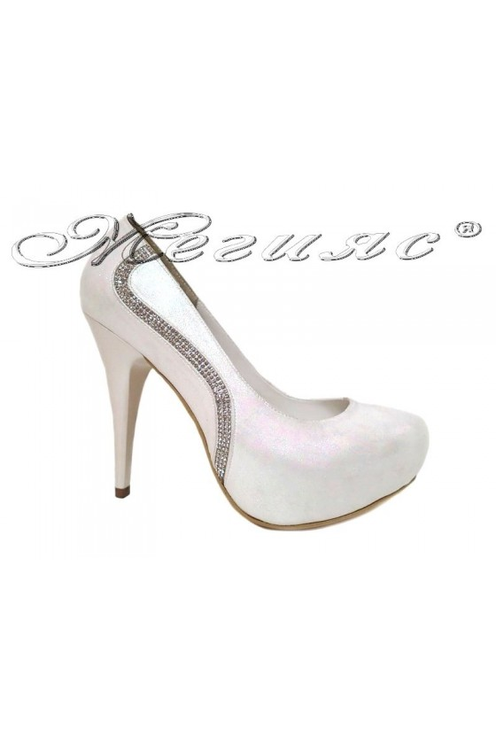 Women elegant shoes 326 white with high heel