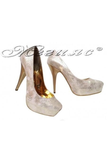 Дамски обувки 531 златисти елегантни с висок ток